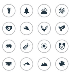Set of simple bio icons vector