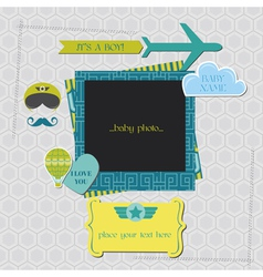 Baby boy shower or arrival card vector