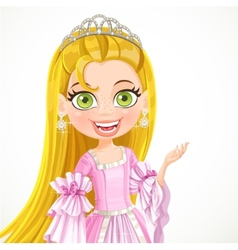 Lovely little princess in a tiara and a pink ball vector