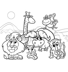 Wild animals cartoon coloring page vector