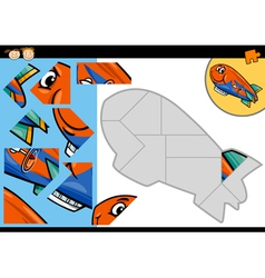 Cartoon blimp jigsaw puzzle game vector