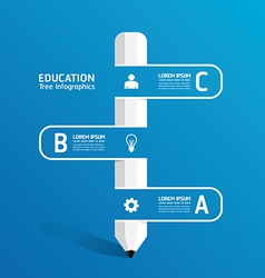 Creative infographic template with pencil ribbon vector
