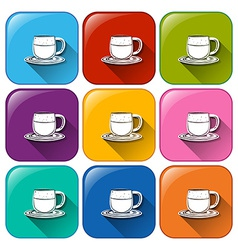 Colourful buttons with mugs and saucers vector