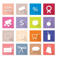 Collection of 16 shopping item icons banner vector