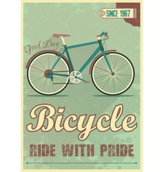 poster with the bike in grunge style vector image
