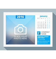 January 2016 desk calendar for 2016 year design vector