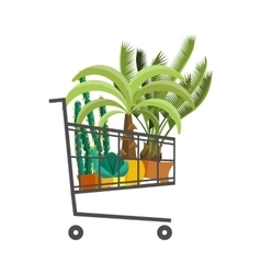Florist shopshopping cart with plantsflower vector