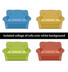 Isolated collage of sofa different colours vector