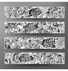 Cartoon hand-drawn doodles latin american banners vector