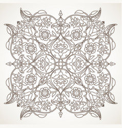 arabesque vintage outline floral decoration print vector image
