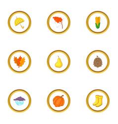 autumn icons set cartoon style vector image vector image