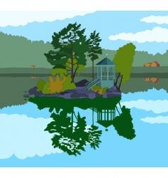 Beautiful island in a lake vector