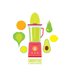 Blender with avocado pear orange and greens vector