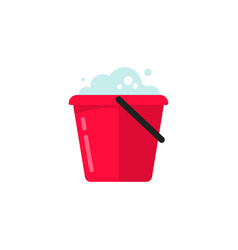 bucket of water icon flat cartoon pail or vector image vector image