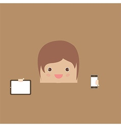 Cartoon doodle man rectangle hand phone of busines vector