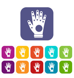 Electronic glove icons set vector