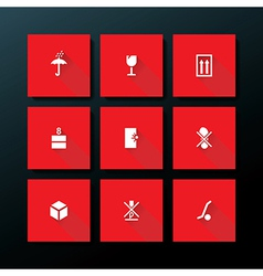 Flat packaging icon set vector