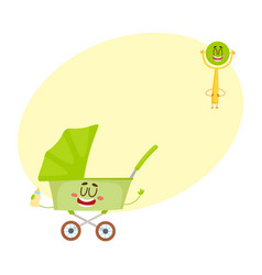 funny baby cart stroller buggy and rattle vector image vector image
