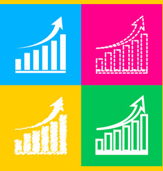 growing graph sign four styles of icon on four vector image