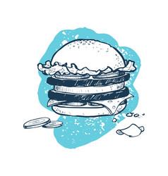 Hamburger hand drawn icon vector