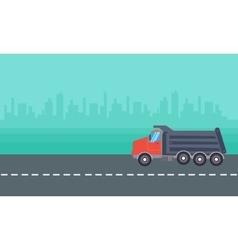 Landscape of dump truck vector