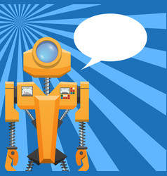Orange robot with blank text cloud vector