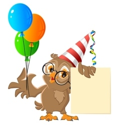 Owl holding balloons carnival vector