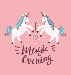 poster with unicorns on the pink background vector image vector image