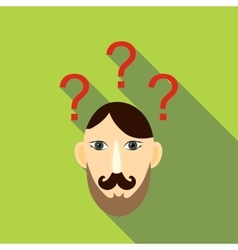 Question brain icon flat style vector