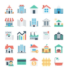 Real Estate Colored Icons 1 vector image vector image