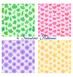 set of seamless patterns with outline leaves vector image