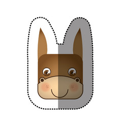 Sticker cute donkey animal head expression vector