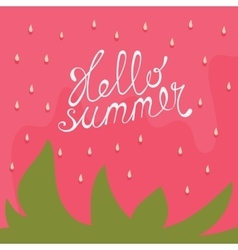 Strawberry Hello summer card vector image