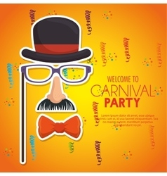 Welcome carnival party gentleman mask confetti vector