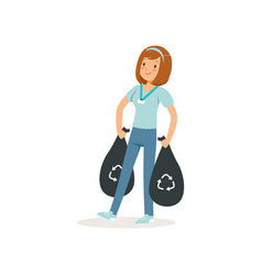 young girl carrying two black bags with rubbish vector image