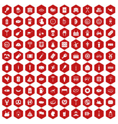 100 meat icons hexagon red vector