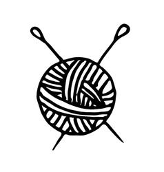 Ball of yarn and knitting needles vector