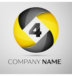 Number four logo symbol in the colorful circle vector