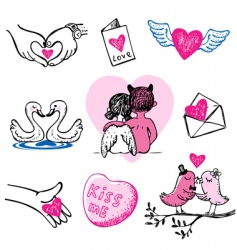 Set of nine valentine icons vector