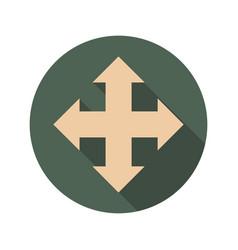 arrow cross icon with long shadows vector image