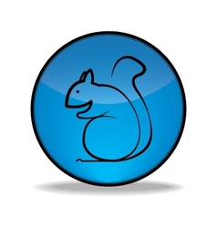 Round blue button with a picture of squirrel vector