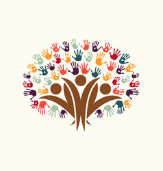 Hand print people tree symbol for community help vector