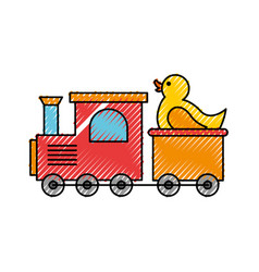 train toy with duck vector image