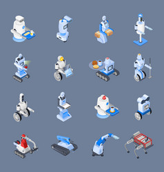 Robot professions icon set vector