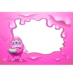 A pink border design with an injured pink monster vector