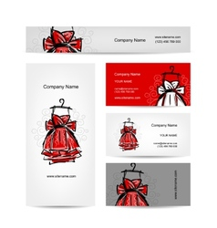 Business cards design red dress vector image