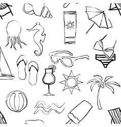 Doodle beach seamless pattern vector