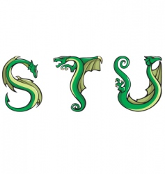 Dragons alphabet stu vector