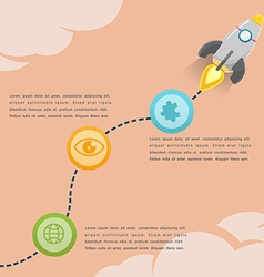 Rocket soar info graphic presentation vector