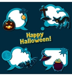 Happy halloween speech bubbles with stickers vector
